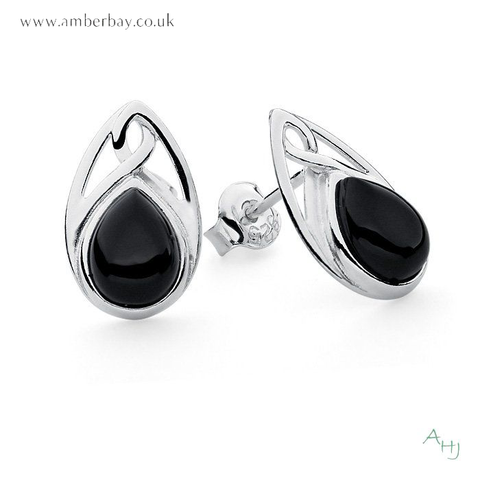 Whitby Jet and Sterling Silver Celtic Studs
