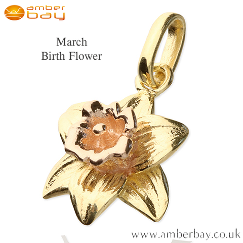 Yellow and Rose Gold Plate Daffodil March Birth Flower Pendant/Charm