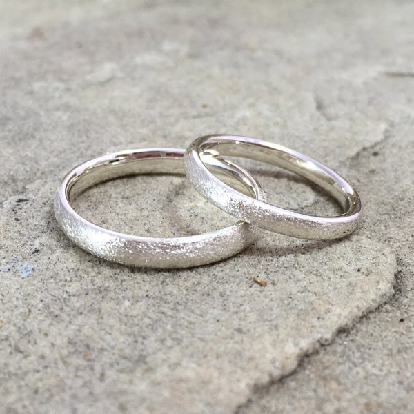 Silver Frosted Halo Wedding Rings