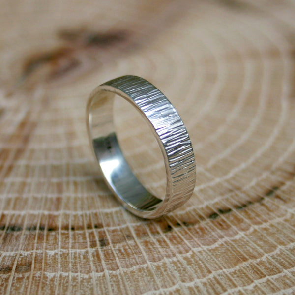 Silver Tree Bark Ring by Curious Magpie
