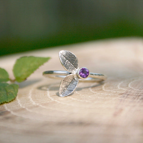 Silver Twin Leaf Ring with Amethyst - Curious Magpie Jewellery - 1