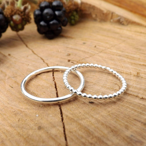 Silver Berry Stacking Rings - Curious Magpie Jewellery - 1