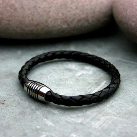 Black Leather Apollo Bracelet - Curious Magpie Jewellery - 1