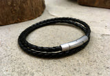 Men's Black Leather Double Attexo Bracelet by Curious Magpie Jewellery
