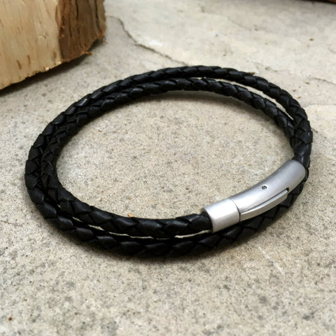 Men's Black Leather Double Attexo Bracelet by Curious Magpie 1