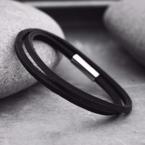 Black Leather Duo Bracelet - Curious Magpie Jewellery - 1
