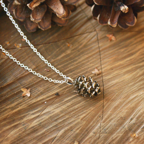Brass Pinecone Necklace - Curious Magpie Jewellery - 1