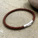 Men's Brown Leather Attexo Bracelet by Curious Magpie Jewellery
