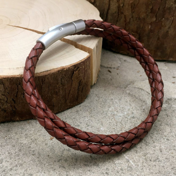 Men's Brown Leather Double Attexo Bracelet by Curious Magpie Jewellery