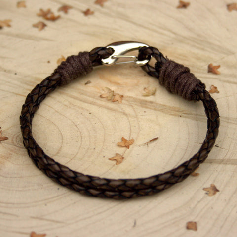 Brown Leather Lobster Claw Bracelet - Curious Magpie Jewellery - 1