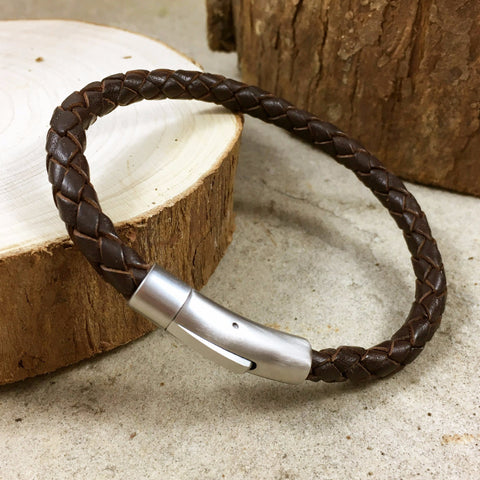 Men's Brown Leather Thor Bracelet - Curious Magpie Jewellery - 1