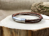 Men's Brown Leather Trinity Bracelet - Curious Magpie Jewellery - 2