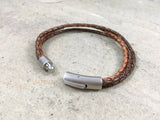Men's Brown Leather Trinity Bracelet - Curious Magpie Jewellery - 4