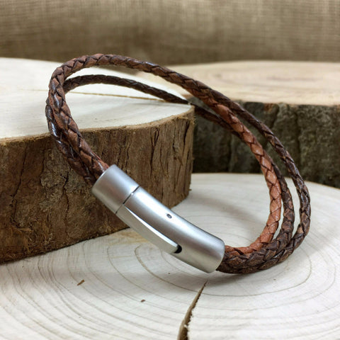 Men's Brown Leather Trinity Bracelet - Curious Magpie Jewellery - 1
