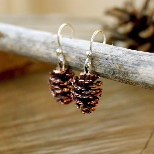 Copper Pinecone Earrings - Curious Magpie Jewellery - 1