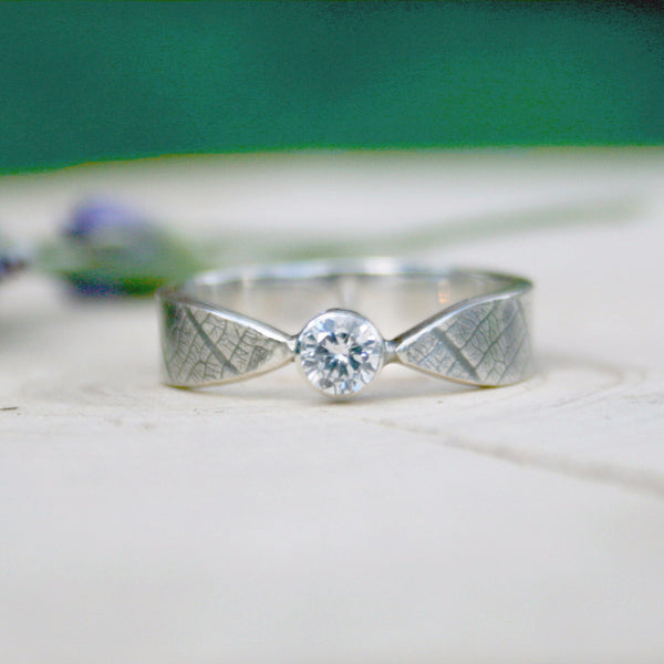 Curled Silver Leaf Ring with Cubic Zirconia