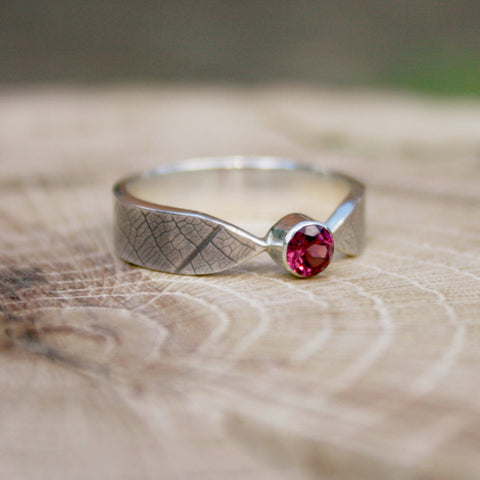 Curled Silver Leaf Ring with Raspberry Garnet