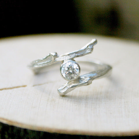 Entwined Silver Branch Ring with Cubic Zirconia