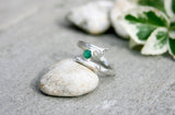Entwined Silver Branch Ring with Green Agate