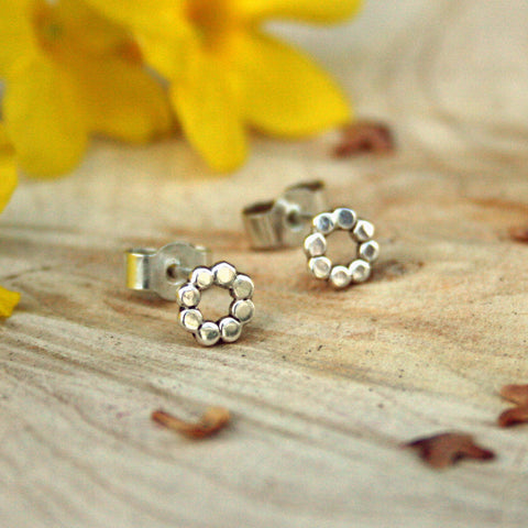 Silver Flower Stud Earrings - Curious Magpie Jewellery - 1
