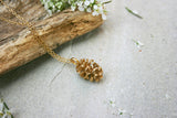 Yellow Gold Plated Pinecone Necklace - Curious Magpie Jewellery - 4
