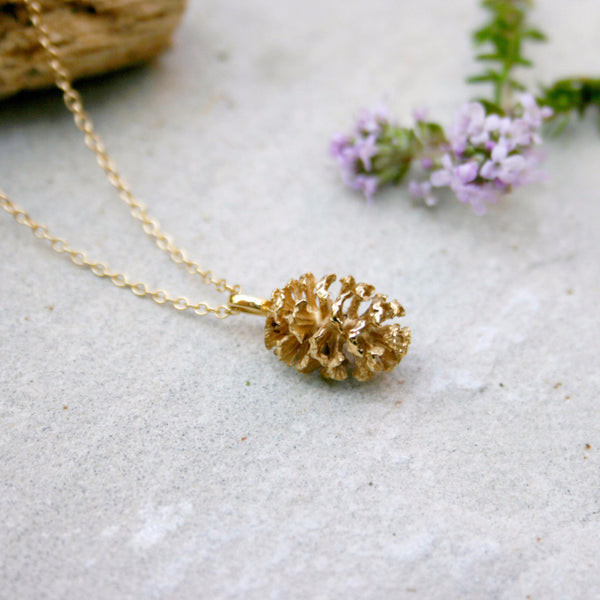Yellow Gold Plated Pinecone Necklace - Curious Magpie Jewellery - 1