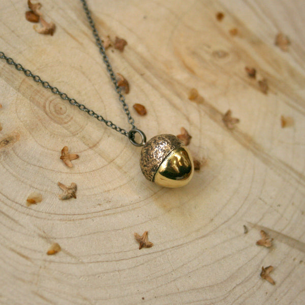 Chunky Brass Acorn Necklace - Curious Magpie Jewellery - 1