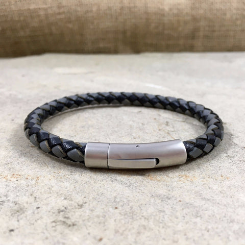 Men's Grey & Black Leather Thor Bracelet - Curious Magpie Jewellery - 1