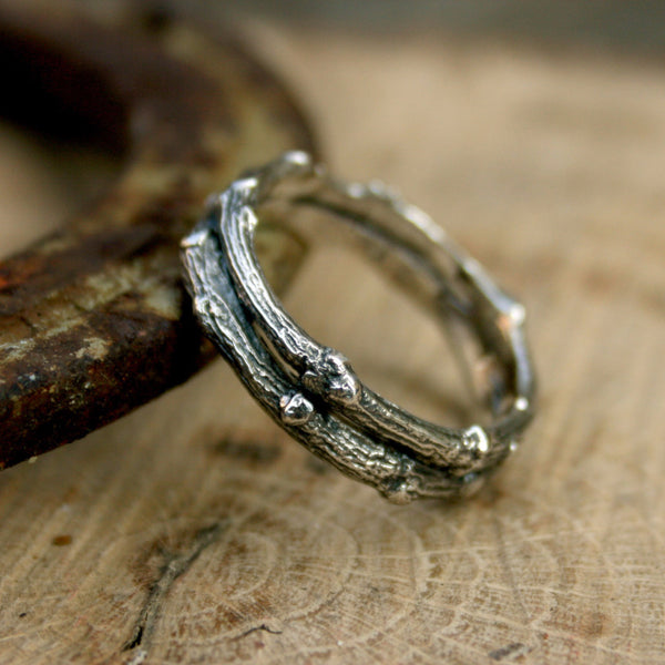 Men's Silver Double Twig Ring - Curious Magpie Jewellery - 1