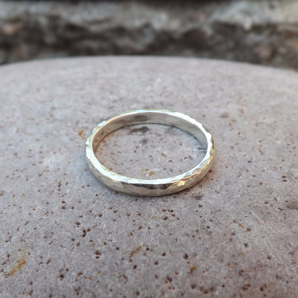 Narrow Silver Meteorite Ring - Curious Magpie Jewellery - 1
