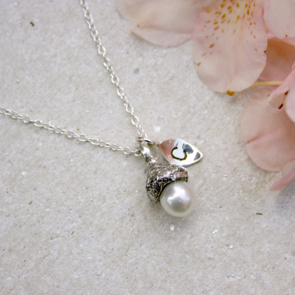 Tiny White Pearl Acorn Initial Necklace - Curious Magpie Jewellery - 1