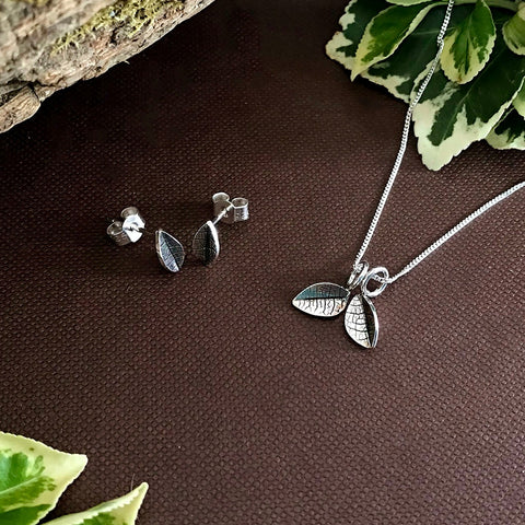 Silver Twin Leaf Necklace and Leaf Stud Earring Set by Curious Magpie Jewellery