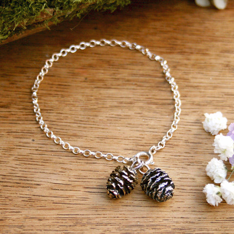 Silver & Brass Pinecone Bracelet - Curious Magpie Jewellery - 1
