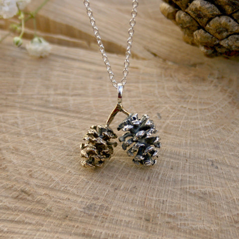 Silver & Brass Pinecone Necklace - Curious Magpie Jewellery - 1