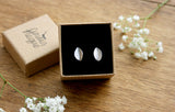 Silver Leaf Stud Earrings - Curious Magpie Jewellery - 6