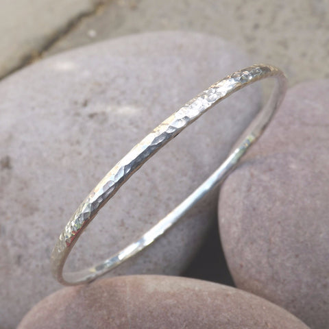 Silver Meteorite Bangle - Curious Magpie Jewellery - 1