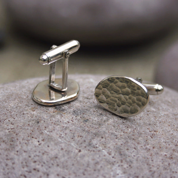 Silver Meteorite Cufflinks - Curious Magpie Jewellery - 1