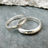Silver Meteorite Wedding Rings - Curious Magpie Jewellery - 1