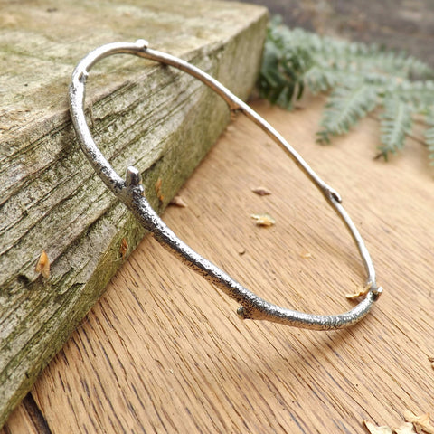 Silver Twig Bangle - Curious Magpie Jewellery - 1