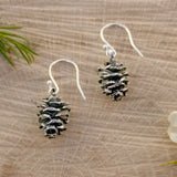 Silver Pinecone Earrings - Curious Magpie Jewellery - 1