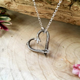 Silver Love Heart Twig Necklace