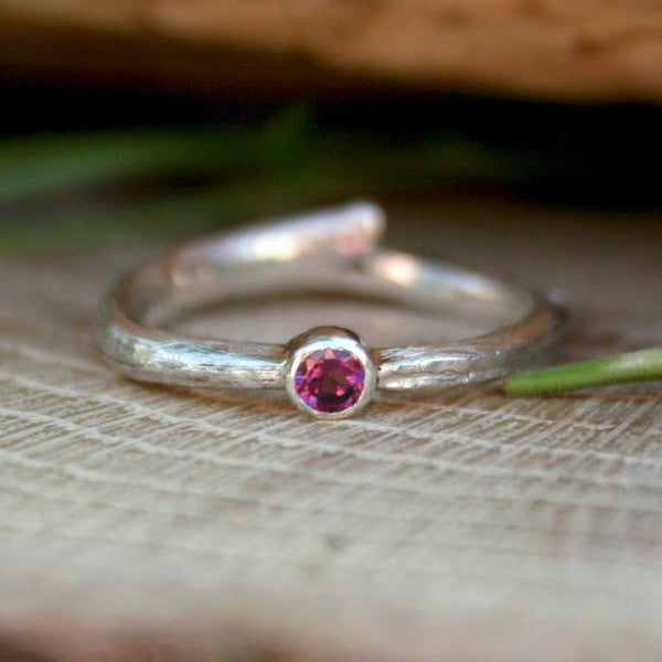 Silver Twig Ring with Raspberry Garnet - Curious Magpie Jewellery - 1