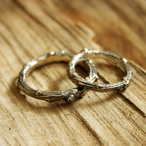 Silver Twig Wedding Rings - Curious Magpie Jewellery - 1