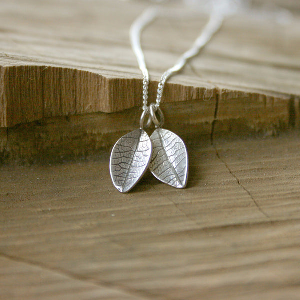 Silver Twin Leaf Necklace - Curious Magpie Jewellery - 1