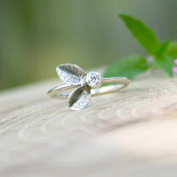 Silver Twin Leaf Ring with Cubic Zirconia