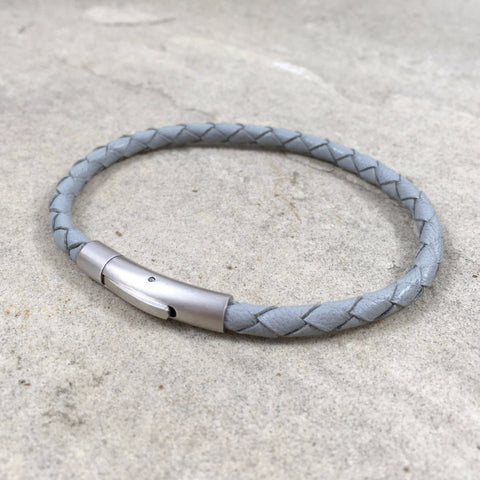 Men's Slim Stone Grey Leather Thor Bracelet - Curious Magpie Jewellery - 1