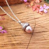 Pink Pearl Acorn Necklace - Curious Magpie Jewellery - 1