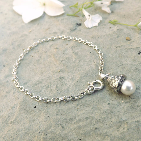 White Pearl Acorn Bracelet - Curious Magpie Jewellery - 1
