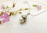 White Pearl Acorn Necklace - Curious Magpie Jewellery - 2
