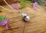 White Pearl Acorn Necklace - Curious Magpie Jewellery - 5